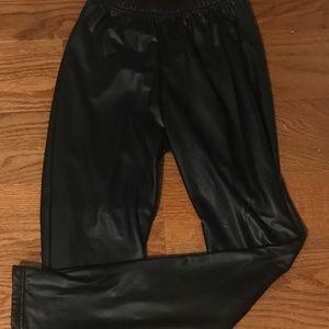 Plush Size S Faux Black Leather Leggings